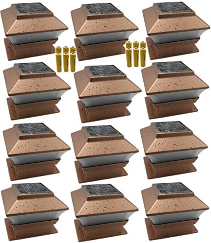 12 pack outdoor garden solar led copper post cap fence for Flat pack garden decking