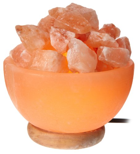 WBM Himalayan Light # 1326 bowl  Natural Air Purifying  Himalayan Salt Lamp with Crystal chunks,  Neem Wood Base, Bulb and  Dimmer switch