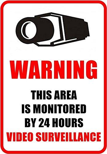Weatherproof Outdoor/Indoor 8.27″ high x 5.51″ wide Home Business Security DVR Camera Video Surveillance System Window Door Wall Warning Alert Sign Sticker Decals **Back Self Adhesive, UV Protected and Waterproof **
