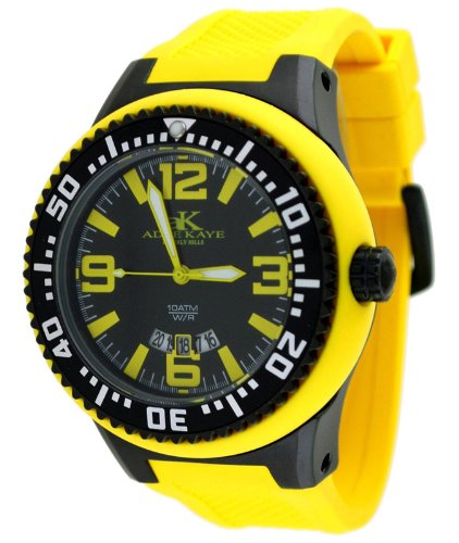 Adee Kaye #AK2230-MIPB Men's Oversized Rubber Strap 100M Sports Watch
