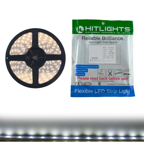 HitLights Waterproof Cool White High Density SMD3528 LED Light Strip – 600 LEDs, 16.4 Ft Roll, Cut to length – 5000K, 123 Lumens / 4 Watts per foot, IP67, Requires 12V DC