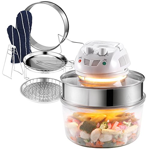 VonShef 12.5-Quart Premium 1200w Halogen Convection Countertop Oven Cooker complete with Accessories including: Extender Ring (to 18 Quart), Lid Holder, Steamer, Frying Pan, Skewers, Low Rack, High Rack & Glove (12 Liters)