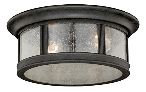 Vaxcel Lighting T0155 Hanover 2 Light Flush Mount Outdoor Ceiling Fixture, Rust Iron