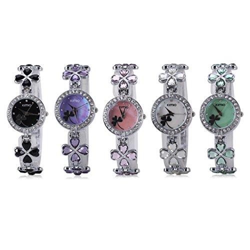 Excelvan Kimio Lucky Clover Ladies Quartz Bracelet Flower Diamond Wristwatch Woman Girls Stainless Steel Watch Reviews