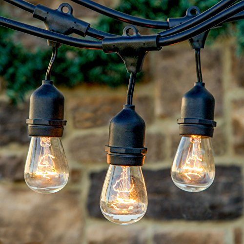 Brightech™ Ambience Pro – Outdoor Commercial String Lights with 11S14 Bulbs – 48 Feet String Light with 15 Heavy Duty Molded Rubber Light Sockets – Create a Unique Retro Look and Feel – Includes Hanging Loops – UL Listed for Indoor and Outdoor Use