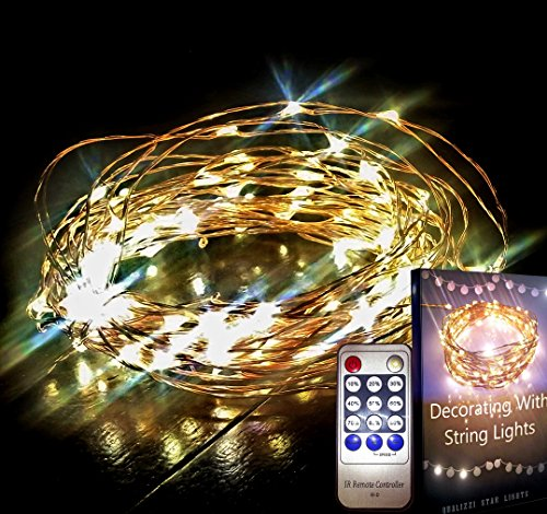 Starry Lights 20Ft /120 LEDs w/ Remote Control + Dimmer by Qualizzi®- Mini Warm White Led's on Copper Wire + FREE e-Book! Dimmable Decorative String Lights with Wireless Switch. Get Your Desired Grade LED Color, From White to Yellow Amber – Wedding Decorations Accents. Clear extension and WHITE 110/220v Pw Adaptor, for U.S.A., E.U. & AU. Reviews