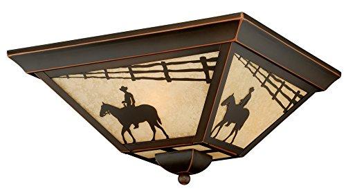 Vaxcel Lighting T0109 Trail 3 Light Flush Mount Outdoor Ceiling Fixture, Burnished Bronze