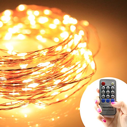 Homestarry® String Lights PRO/ 40Ft / 240 LED's Warm White/ Copper Wire/ Remote Control Dimmer/ Perfect for Indoor and Outdoor Environments — Remote Control Feature Easily Regulates Your Lighting – Decor Light – 100% Satisfaction Guarantee.