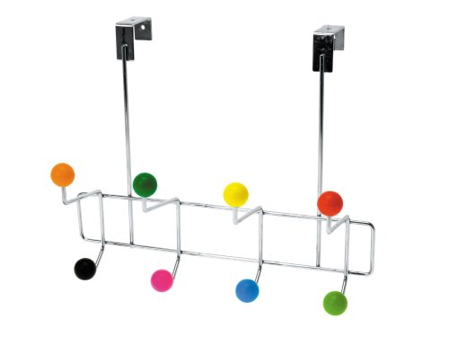 Present Time Over the Door Chrome Plated Hanger with Multi Color Knobs