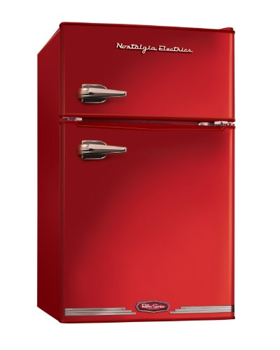Nostalgia Electrics RRF325HNRED Retro Series 3.0-Cubic Foot Compact Refrigerator Freezer, Red
