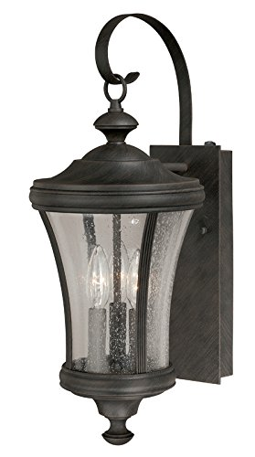 Vaxcel Lighting T0147 Hanover 3 Light Outdoor Wall Sconce with Photocell, Rust Iron
