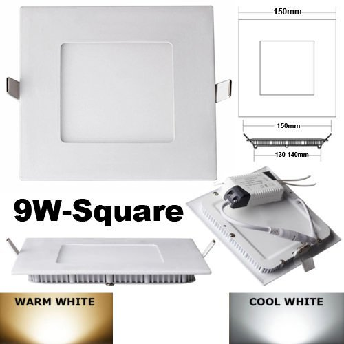 HS (TM) 9W 12W 630 Lumens Dimmable Cree Led Glasses Recessed Square Flat Ceiling Panel Down Lights Lamps (Warm Light, 9W)