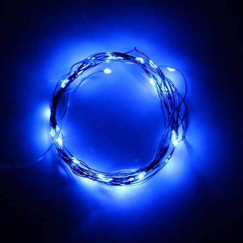 SINOLLC Blue Soft Wire LED Light String 2m 20 LED Bulbs Starry Starry Light Indoor String Light Outdoor Rope Lights 3 AA Batteries Operated LED Fairy Light