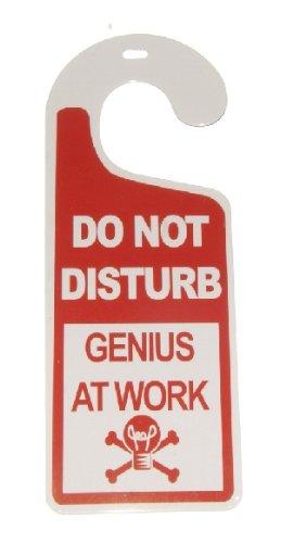 Do Not Disturb…Genius At Work Tin Door Knob Hanger for Bedroom, Dorm, Lab
