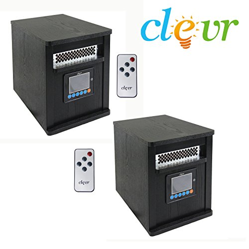 X2 Clevr Portable Electric 1500w Infrared Heater Quartz Wood 1800 SQFT fireplace