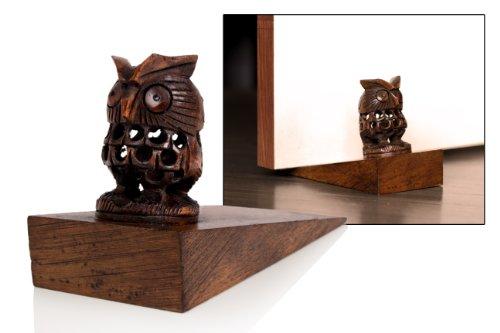 Handcrafted Owl Shaped Rosewood Door Stopper Wall Mount Wooden Furniture Accessories Holder Hardware Knobs Floor Blocker Closers Jammer