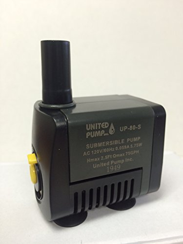 United Pump UP-80-S Fountain, Statuary & Table Top Submersible Pump 75 GPH with On/Off switch 6'cord