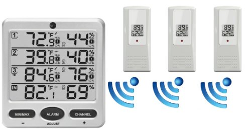 Ambient Weather WS-10 Wireless Indoor/Outdoor 8-Channel Thermo-Hygrometer with Three Remote Sensors