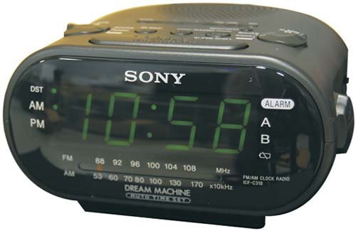 Sony Alarm Clock B&W Wired Hidden Camera