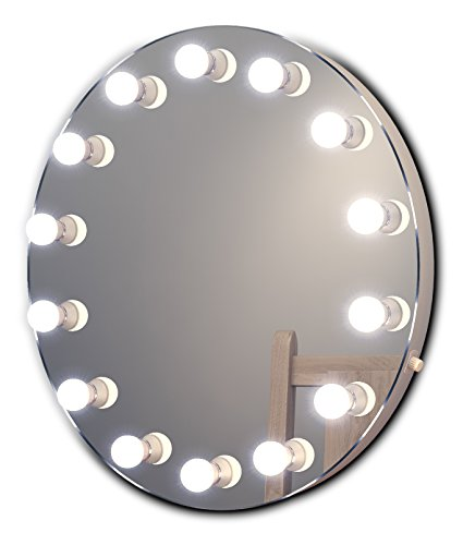 Round Hollywood Makeup Mirror with Cool White Dimmable LED lamps k250CW