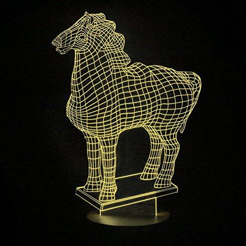 Lvjing(TM) 3D Visual LED Small Table Night Light Dimmable LED Desk Lamp of Bedroom for Kids Children / Christmas / Birthday Gift (horse model, warm white light)