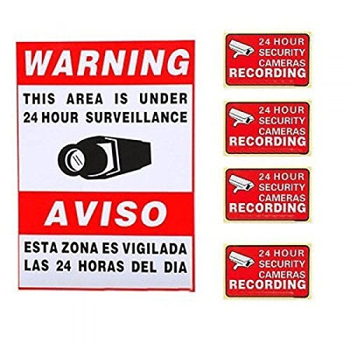 Security Camera Alarm Surveillance Stickers Signs Home Video 4pcs Warning Decal Sign