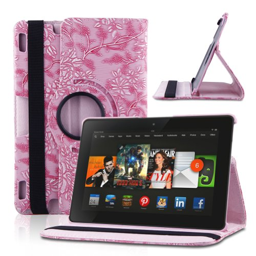 URPOWER 360 Degrees Rotating Embossed Flower Pattern PU Leather Case and Cover for 2013 Kindle Fire HDX 8.9 Inch (Supports Wake/sleep Function with Stylus) – Pink