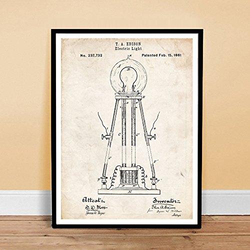 THOMAS EDISON LIGHT BULB INVENTION 1881 US PATENT ART RETRO POSTER PRINT 18X24 ELECTRIC LIGHT GIFT Reviews