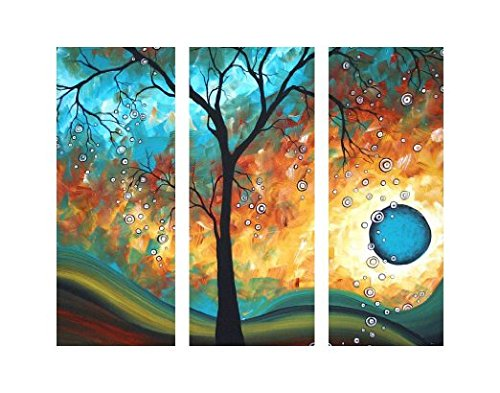 TJie Art Hand Painted Mordern Oil Paintings Wall Decor Sun Tree Abstract Clouds Home Landscape Oil Paintings Splice 3-piece/set on Canvas