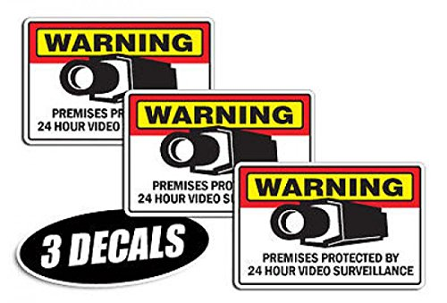 Decal Video Sarning Stickers Signs Security Surveillance CCTV Camera 3 Pack