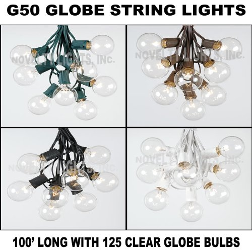 100 Foot G50 Clear Outdoor Lighting Patio Globe String Lights, Clear, Black Wire, 100′
