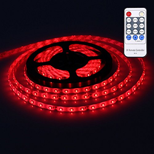 XKTTSUEERCRR 3528 SMD 16.4Ft 5Meter 300LEDs Red Flexible Waterproof Strip Lighting With 12 key Switch IR Remote LED Dimmer Controller and DC connector