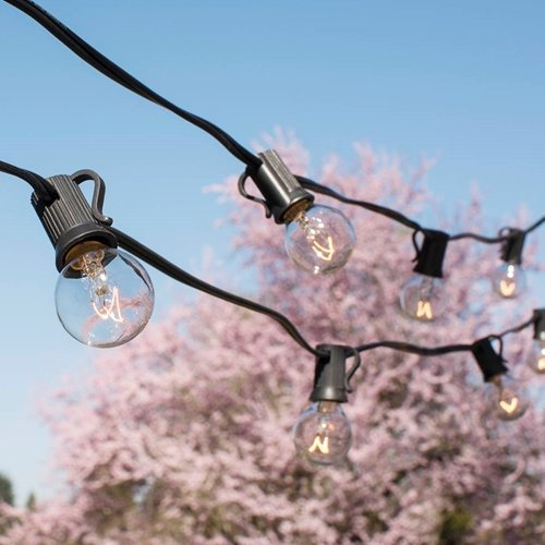 Globe String Lights, 1.25 in. Bulbs, 50 Ft Black Wire, E12, C7, Clear