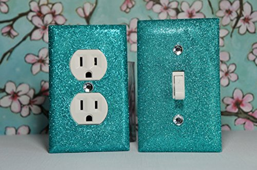 AQUA Glitter Switch Plate Outlet Covers SET OF 2. ALL Styles Available!