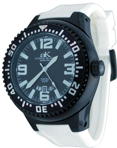 Adee Kaye #2230SS-MIPB Men's Neptune Collection Stainless Steel Silicone Band Black and White Watch Reviews