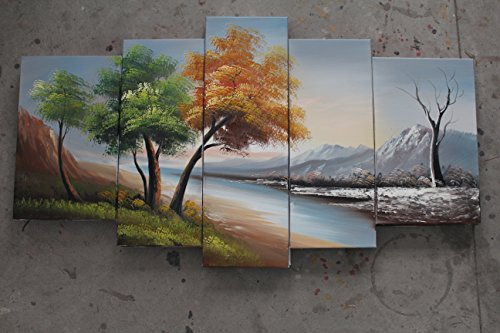 TJie Art Hand Painted Mordern Oil Paintings Wall Decor Realism Rivers Clouds Home Landscape Oil Paintings Splice 5-piece/set on Canvas