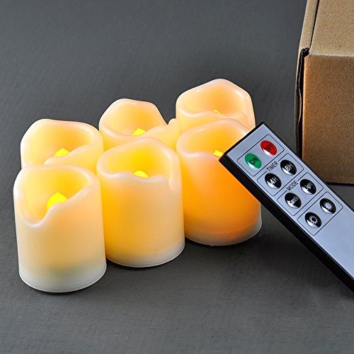 HKSL Set of 6 LED Flameless Votive Candle Amber Yellow Flame with Timer Remote Control Battery Operated Reviews