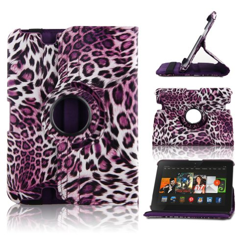 TOPCHANCES 360 Degree Rotating Stand Leopard Purple Slim Mordern Smart Cover Case for the 2012 kindle fire HD 7 Built in Stand-(Auto Sleep and Wake Speciality) Reviews