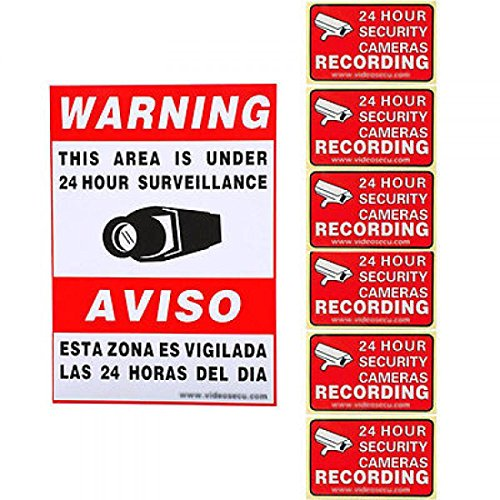 7Pcs Camera Video Security Stickers Warning Surveillance Decal Alarm Home Sign