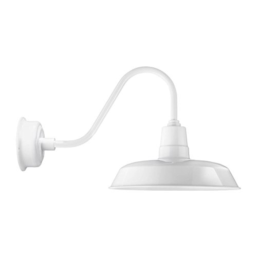 Led Light Enclosed Fixture: Cocoweb 16 Inch Oldage White LED Wall Mounted Gooseneck