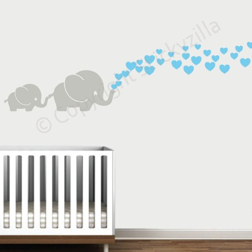 Cutie Grey Elephants with Colored Bubble Hearts Vinyl Wall Decal Sticker Baby, Nursery, Play ...