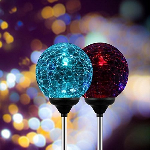 esky sl75 crystal glass globe color changing led solar lights christmas light decoration - Led Light Christmas Decorations