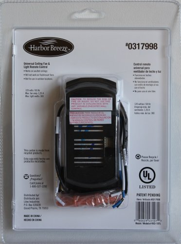 Harbor Breeze Universal Ceiling Fan Amp Light Remote Control Receiver Includes 12 Volt Battery