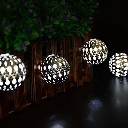 ICICLE Solar String Lights ... & ICICLE Solar String Lights Globe Moroccan Ball Lights  11ft 10 LED ...