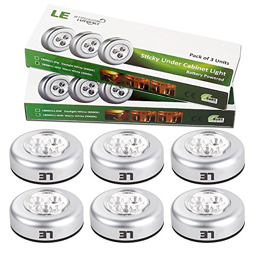Le 174 6 Pack Led Battery Operated Stick On Tap Light Mini