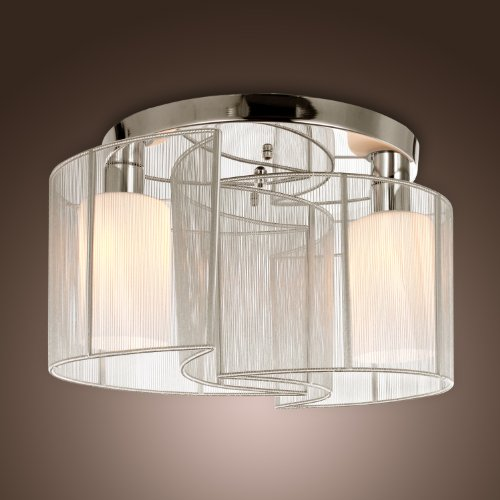 Lightinthebox 2 Light Semi Flush Mount Ceiling Light Fixture With Fabric Shade And Cloth Cover