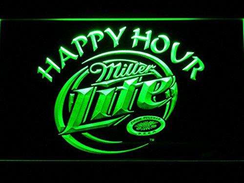 Miller Lite Happy Hour Beer Bar LED Neon Light Sign Man