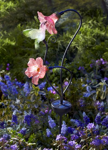 Moonrays 92548 Solar Powered Hummingbird W Pink Habiscus Flowers Garden Led Metal Stake Light