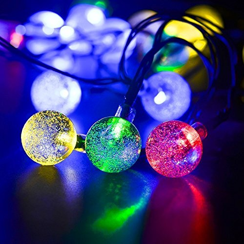 Okcolorfal solar powered string lights outdoor garden lights 197ft okcolorfal solar powered string lights outdoor aloadofball Choice Image