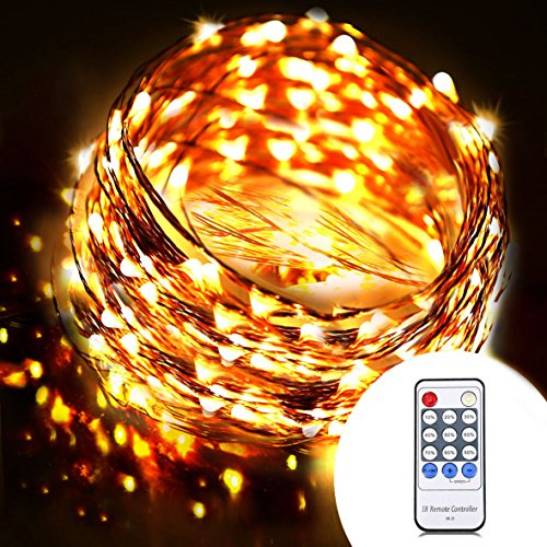 OrgMemory Dimmable LED String Lights, (40 Ft, 120 Leds, Warm White), Waterproof Twinkle Lights ...